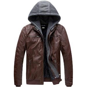 chaqueta de cuero sintetica con capucha