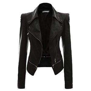 chaqueta cuero sintetico black